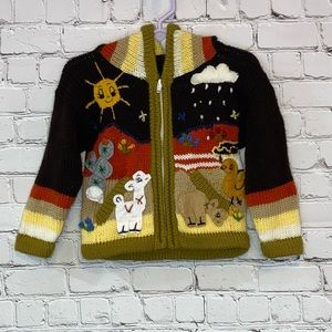 Multicolored Full Zip Hoodie Sweater with Animals
